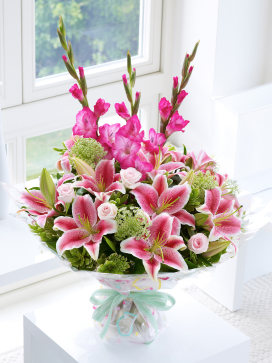 Rose, Lily and Gladioli Hand-tied