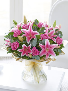 Extra Large Mother's Day Pink Rose and Lily Hand-tied