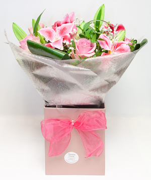 Pink Rose & Lilly Hand-tied Bouquet